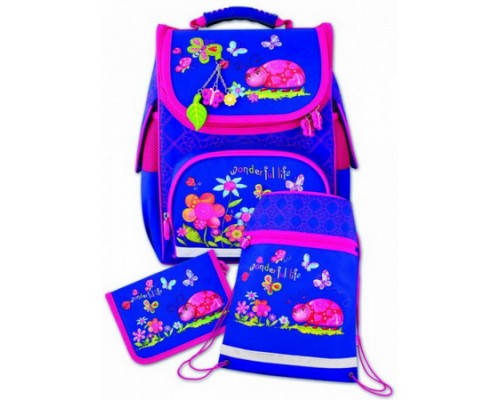 Рюкзак Божья коровка и бабочки (пенал + мешок для обуви) для девочки