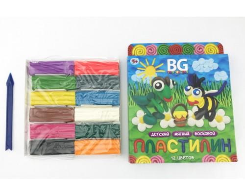 Пластилин 12 цветов BG (восковой) Весёлая пчёлка
