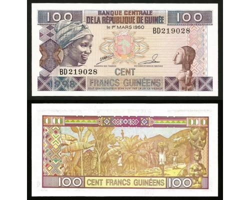 БЕЗ СКИДКИ Банкнота 100 франков Гвинея (60)