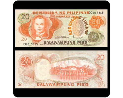 БЕЗ СКИДКИ Банкнота 20 песо Филиппины 1970-1978 KR