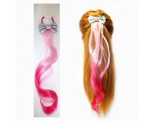 Заколка Прядь волос на резинке с бантиком, ассорти, 45 см.