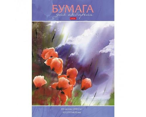 Альбом для рисования акварелью А3 20 листов 200г/кв.м Маковое поле
