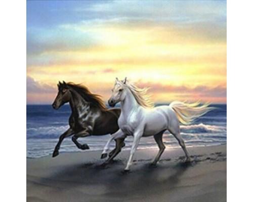 Алмазная мозаика Бегущие кони, 40*50 см, без подрамника, частичная выкладка