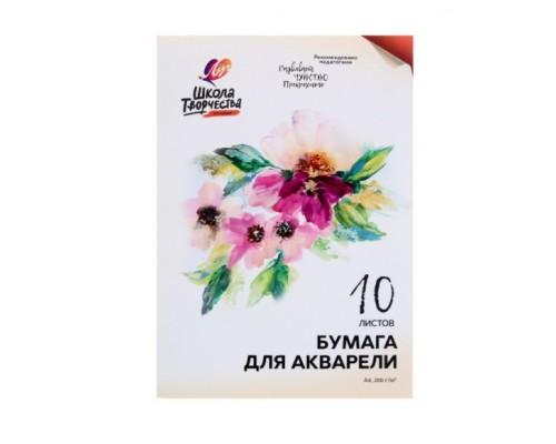 Бумага для акварели А4 10 листов Школа Творчества