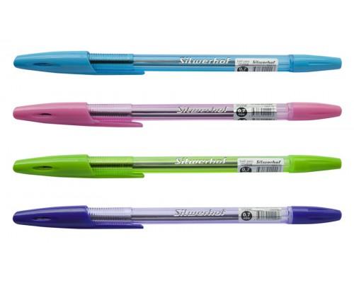 Кан.Ручка шар.Silwerhof CRYSTAL 0.7мм синяя