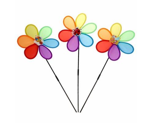 Вертушка Цветок с пчелкой, ткань диам. 27см в пак.