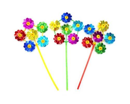 Вертушка Цветы диам. 17см, голограм., цвет в асс.