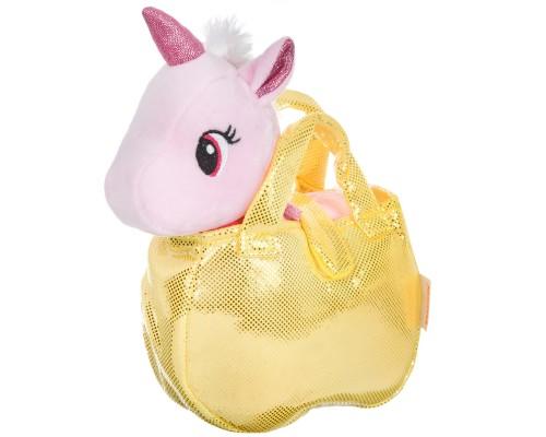Крылатый единорог в золотистой сумке, Bondibon МИЛОТА, c ошейником и поводком розовый